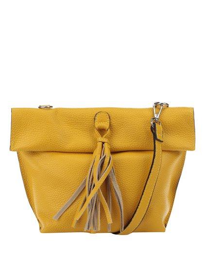 Žlutá kožená crossbody kabelka/psaníčko s třásní ZOOT