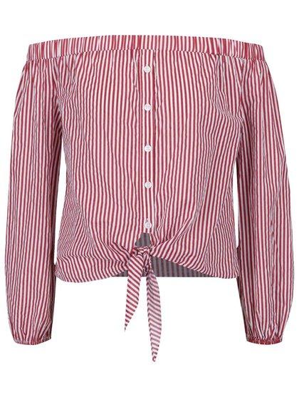 Bluză roșu&alb cu dungi și decolteu pe umeri TALLY WEiJL