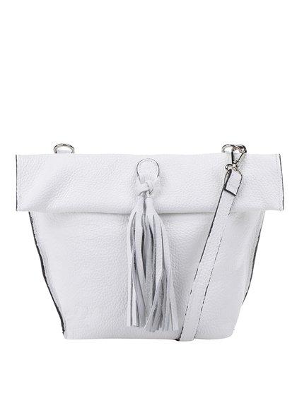 Bílá kožená crossbody kabelka/psaníčko s třásní ZOOT