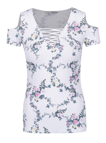 Bílé květované tričko s odhalenými rameny TALLY WEiJL