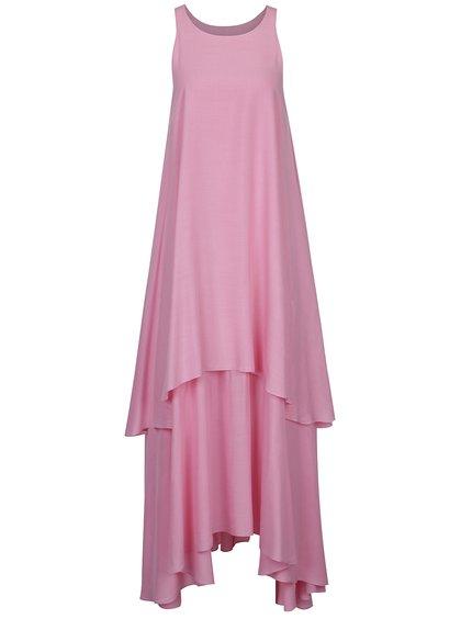 Rochie midi roz cu volane Aer Wear