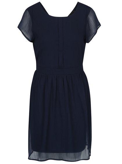 Tmavě modré šaty s véčkovým výstřihem na zádech VERO MODA Lisa