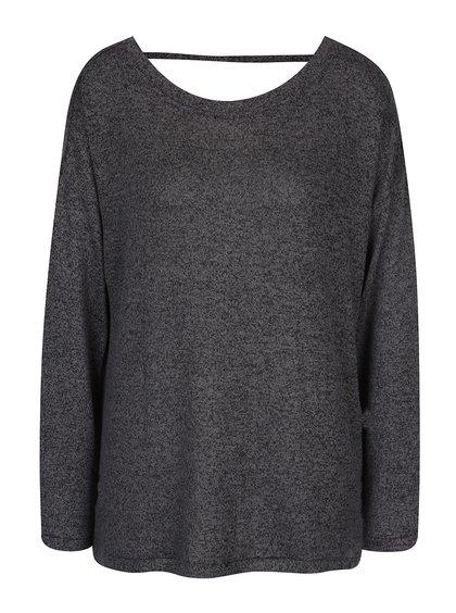 Tmavě šedý žíhaný svetr s páskem na zádech VERO MODA Sadie