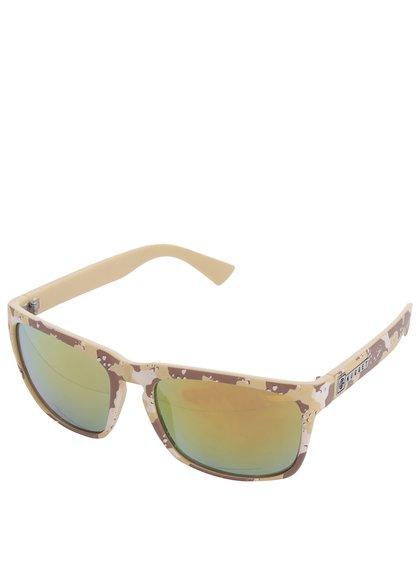 Hnědo-béžové pánské sluneční brýle s maskáčovým vzorem NUGGET Shell