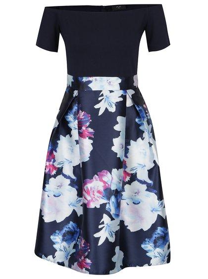 Tmavě modré šaty s odhalenými rameny a květovanou sukní AX Paris