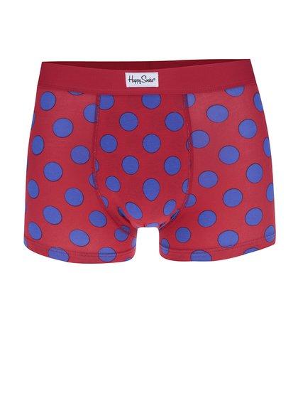 Boxeri roșii cu model cu buline albastre Happy Socks Big Dot