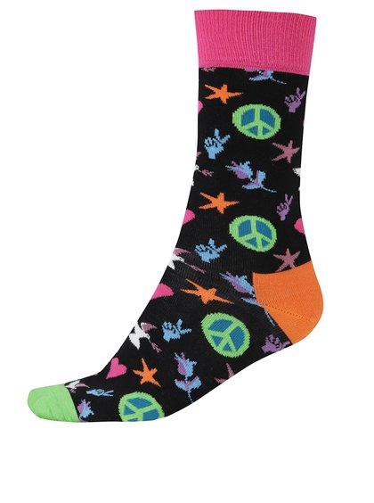 Černé pánské ponožky s hippie vzorem Happy Socks Peace And Love