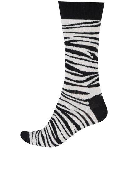 Krémovo-černé zebrované ponožky Happy Socks Zebra