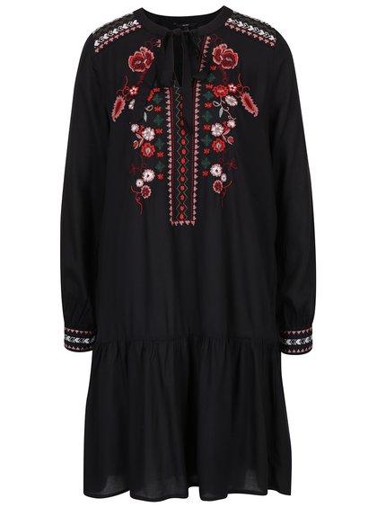 Rochie - tunică neagră cu flori brodate - VERO MODA Joline