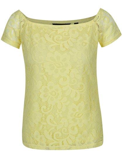 Žluté krajkované tričko Dorothy Perkins