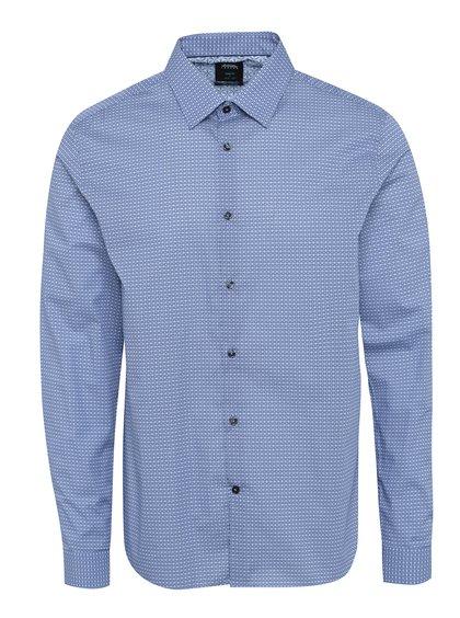 Cămașă office albastră slim fit cu model și mâneci lungi Burton Menswear London