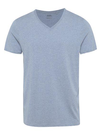 Světle modré žíhané basic tričko s véčkovým výstřihem Burton Menswear London