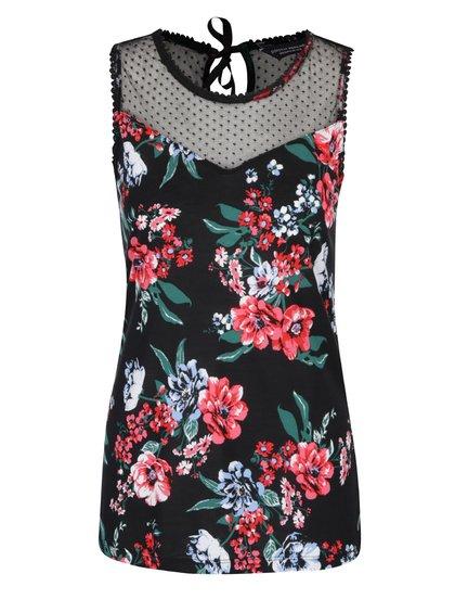 Top negru cu model floral și inserție din dantelă cu picouri Dorothy Perkins