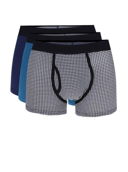 Sada tří boxerek v černé, bílé a modré barvě Burton Menswear London