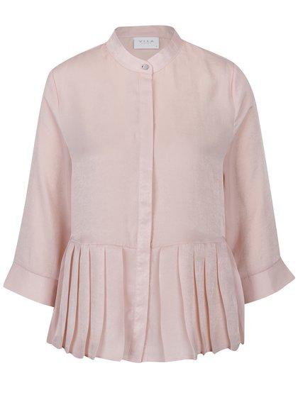 Bluză peplum roz deschis cu pliuri VILA Malia
