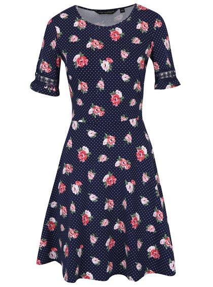 Tmavě modré květované šaty s krajkovými lemy na rukávech Dorothy Perkins