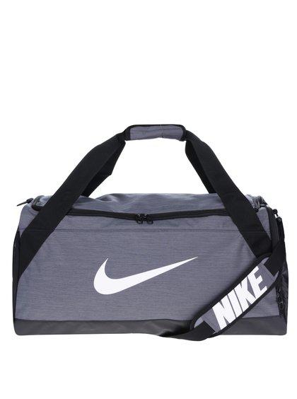 Černo-šedá sportovní voděodolná taška s potiskem Nike Brasilia 61 l