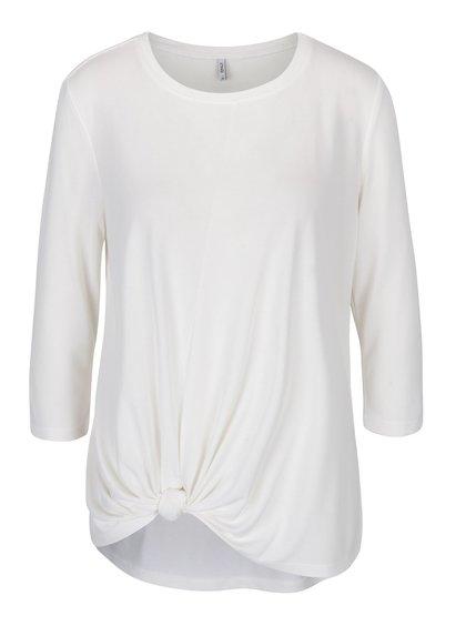 Krémové volné tričko s uzlem ONLY Miley
