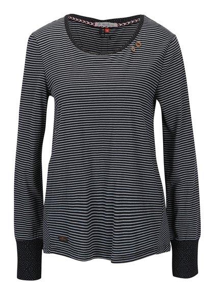 Bluză neagră cu dungi și fantă cu nasturi Ragwear Malina