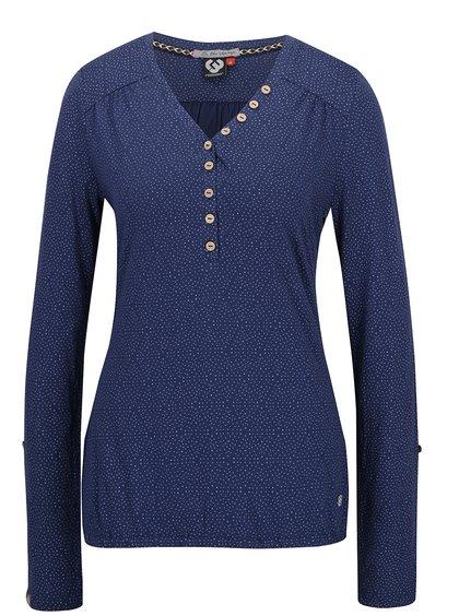 Bluză albastră cu model pepit și mâneci lungi Ragwear Pinch