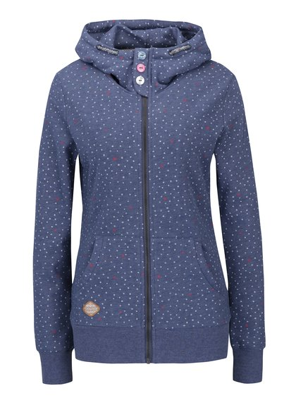 Hanorac albastru cu fermoar și model grafic Ragwear Chelsea Hearts Zip