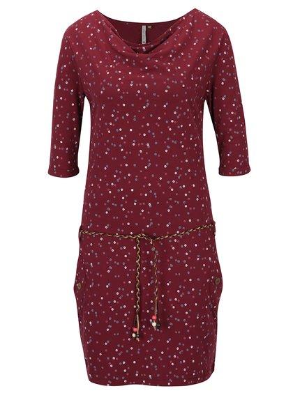 Vínové puntíkované šaty s 3/4 rukávem Ragwear Tanya Organic