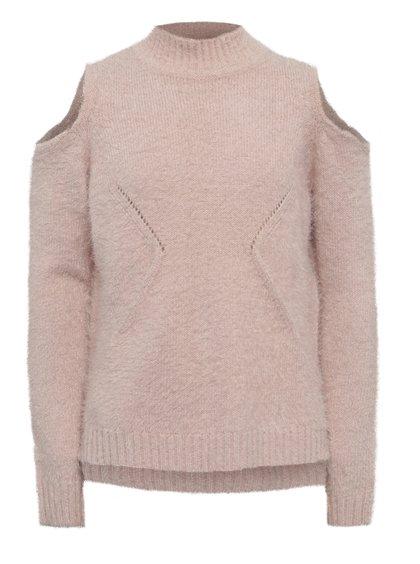 Světle růžový holčičí svetr s průstřihy na ramenou Blue Seven