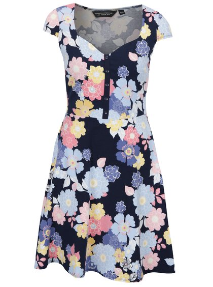 Rochie cloș bleumarin cu flori Dorothy Perkins
