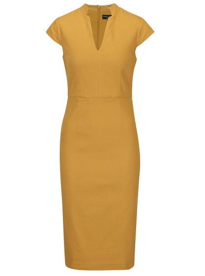 Hořčicové pouzdrové šaty Dorothy Perkins