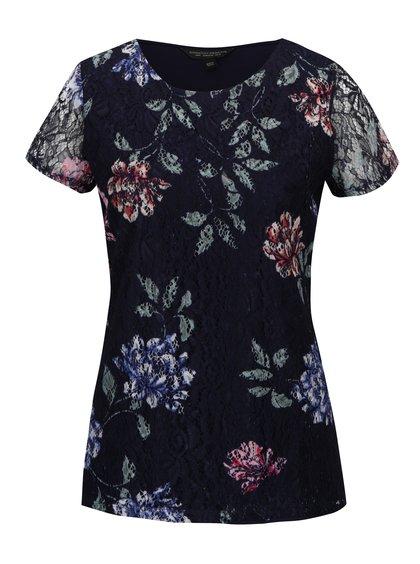 Bluză bleumarin din dantelă cu flori Dorothy Perkins