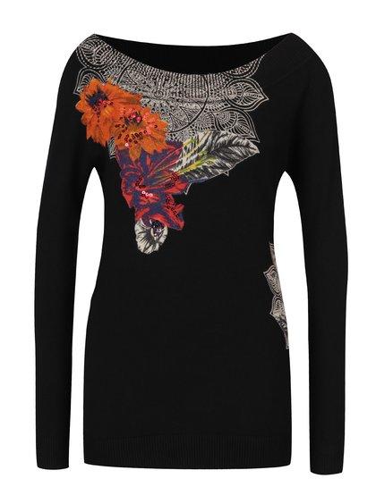 Černý květovaný svetr s lodičkovým výstřihem a flitry Desigual Aneta