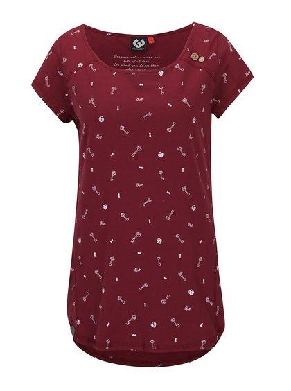 Tricou vișiniu cu mâneci raglan și imprimeu Ragwear Rosanna