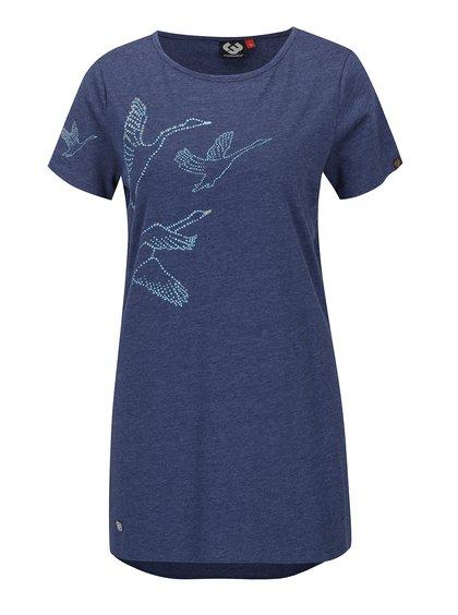 Tricou albastru lung cu print grafic Ragwear Martina