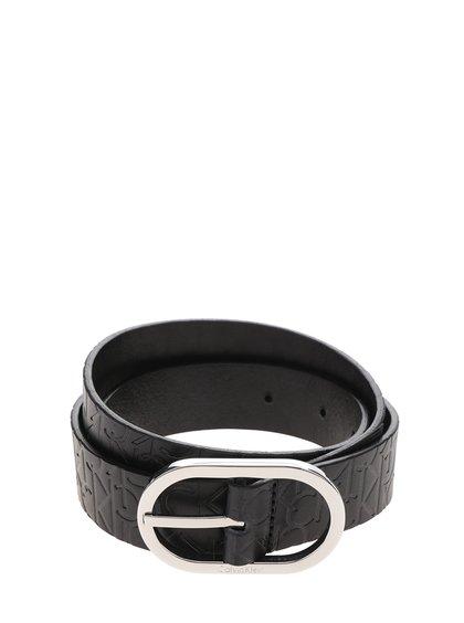 Černý dámský kožený pásek se vzorem Calvin Klein Jeans Misha