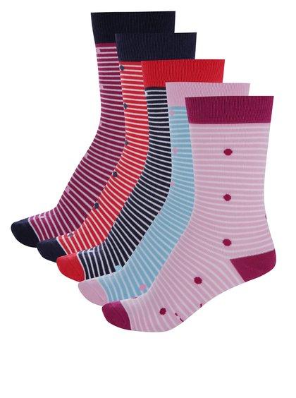 Sada pět párů dámských pruhovaných ponožek ve vínové barvě Tom Joule Sox Box
