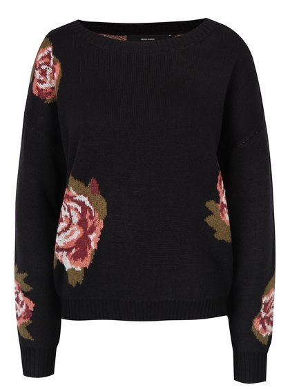 Pulover tricotat negru cu flori - VERO MODA Belmont