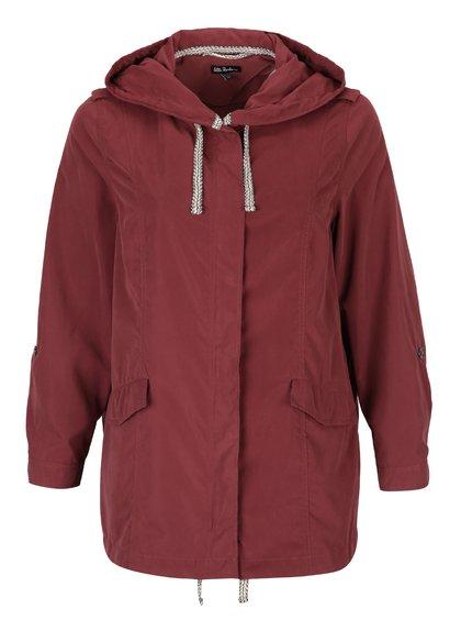 Jachetă roșu bordo cu fermoar și capse Ulla Popken