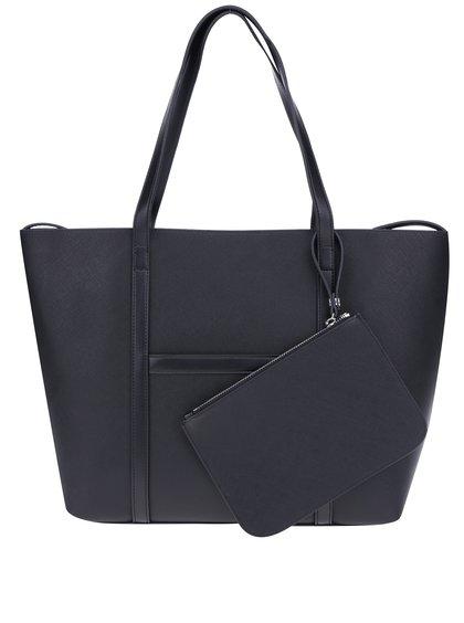 Geantă shopper neagră cu portofel  French Connection Saffiano Julia