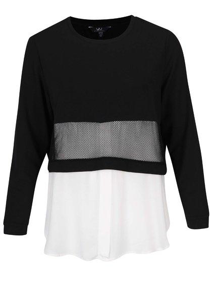 Bluză crem&negru cu aspect 2în1 - Ulla Popken