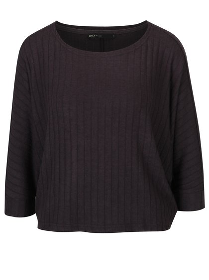 Tmavě šedý volný krátký svetr s 3/4 netopýřími rukávy ONLY Ida