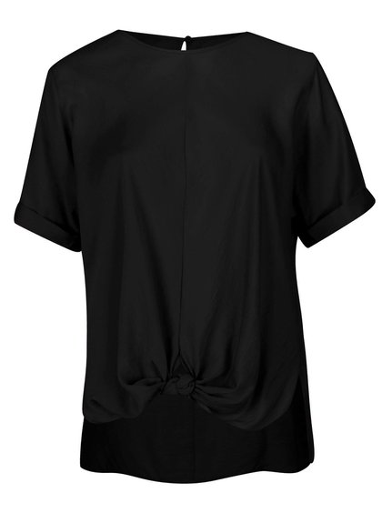 Bluză neagră cu nod decorativ - Ulla Popken