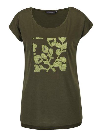 Khaki dámské volné tričko s plastickými detaily Broadway Lene