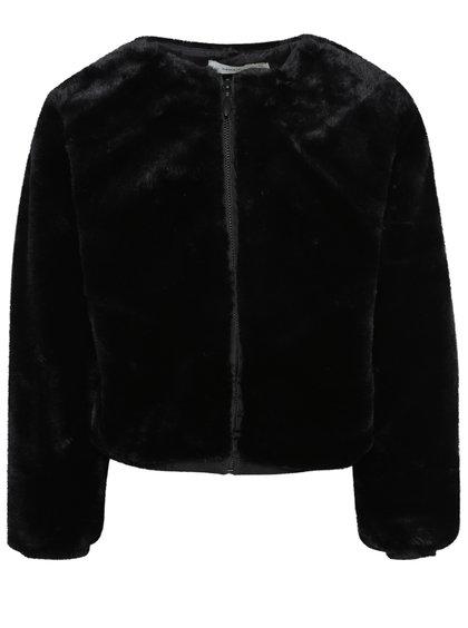 Černá holčičí bunda z umělé kožešiny name it Kimba