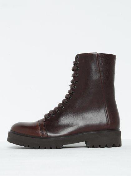 Tmavě hnědé dámské kožené kotníkové boty Royal RepubliQ
