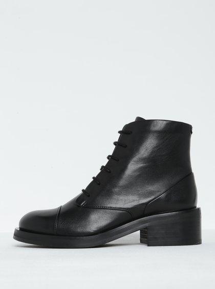 Černé dámské kožené kotníkové boty na širokém podpatku Royal RepubliQ