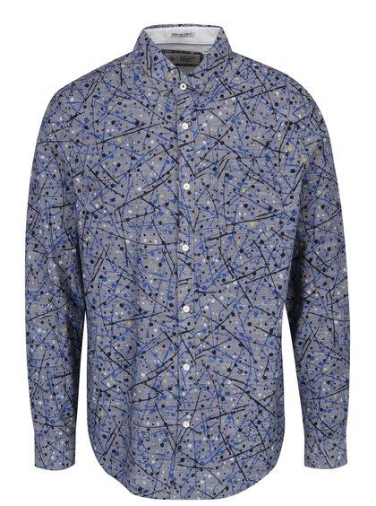 Modrá vzorovaná slim fit košile s dlouhým rukávem Original Penguin Splatter