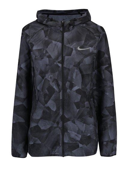 Šedo-černá dámská vzorovaná lehká funkční bunda s kapucí Nike