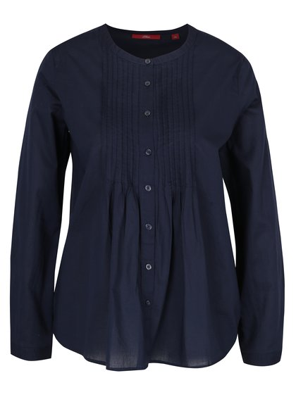 Tmavomodrá dámska košeľa s rebrovanými detailmi s.Oliver
