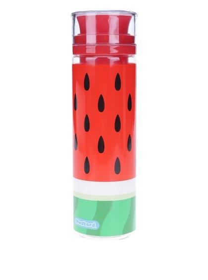 Červená lahev s nádržkou na ovoce Mustard