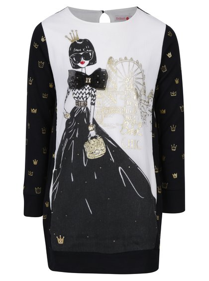 Černo-bílé holčičí šaty s potiskem Bóboli